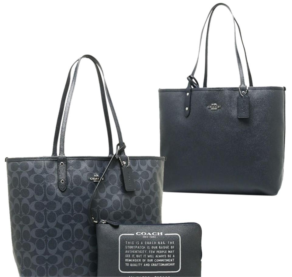 Coach City Reversible Signature Large Tote with Travel Pouch Denim Midnight  Blue Pvc Laptop Bag b05b0fe5ad02f