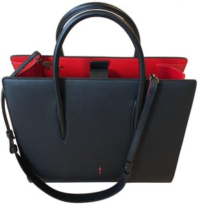 8bc8c42183c Christian Louboutin Paloma Large Calf Empire / Patent Black Red Inside  Leather Satchel 75% off retail