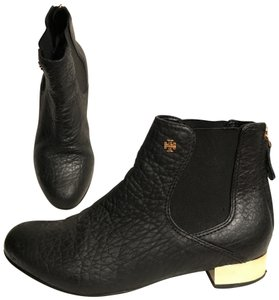 Tory Burch Leather Distressed Ankle Flat Black Gold Boots
