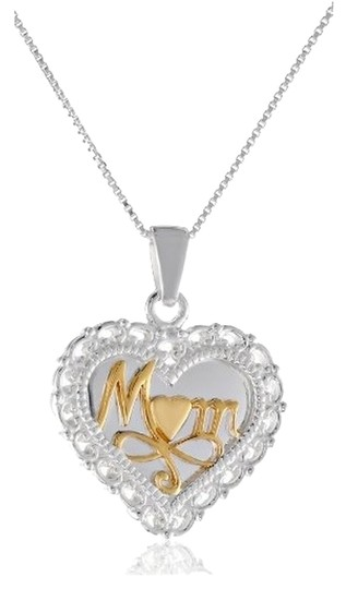 "Other Sterling Silver ""A Mother's Love"" Reversible Heart Pendant Necklace, 18"""