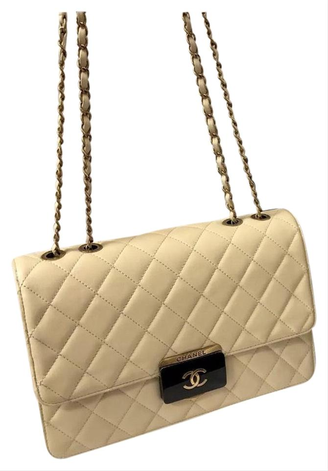 1857e81c1184fb Chanel Classic Flap Lock Quilted Crossbody Cream Sheepskin Leather ...
