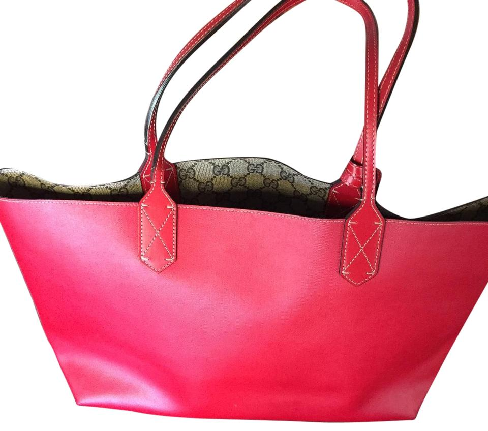 13d0d4eb297 Gucci Reversible Gg Medium Red Leather Tote - Tradesy