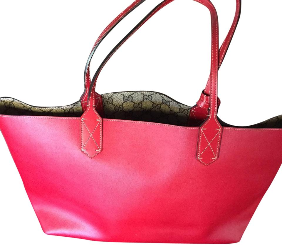 697eef6a4 Gucci Reversible Gg Medium Red Leather Tote - Tradesy