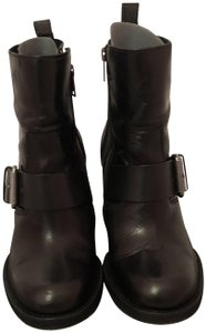 AllSaints Leather Silver Hardware Black Boots