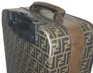 Fendi Vintage Luggage Carryon Luggage Jacquard Canvas Brown Leather Travel Bag