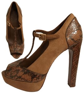Tory Burch Suede Snakeskin Platform Open Toe Chunky Brown Beige Pumps