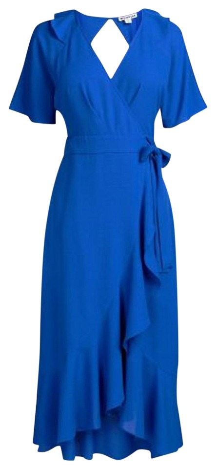 89fe6ac674 Whistles Blue Abigail Frill Wrap Midi Mid-length Cocktail Dress Size ...