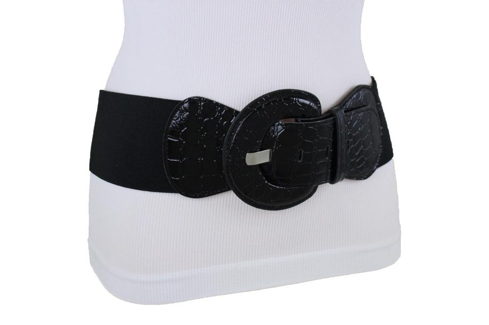 ae438fd4a5 Alwaystyle4you Black Hot Women Belt Hip Elastic Waist Stretch Faux Leather  Wide Retro Image 0 ...