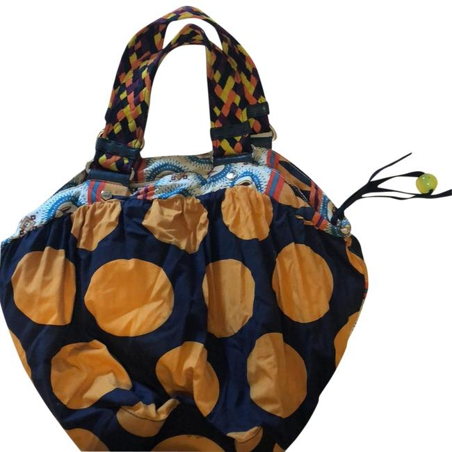 Item - Navy Mustard Various Cotton Hobo Bag