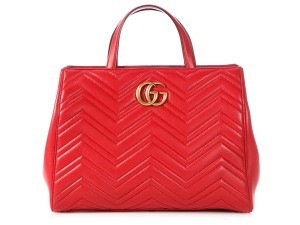 Gucci Brass Smooth Leather Suede Lining Chevron-quilting Gc.p0413.07 Satchel in red