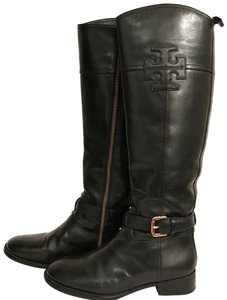 Tory Burch Leather Riding Equestrian Biker Motorcycle Black Gold Boots