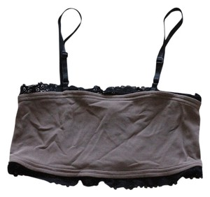 Bill Hallman Crop Summer Belly Binkini Top Mink color with black lace trim