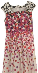 Kay Unger short dress Soft black multi-color floral (pinks, reds, lavenders) on Tradesy