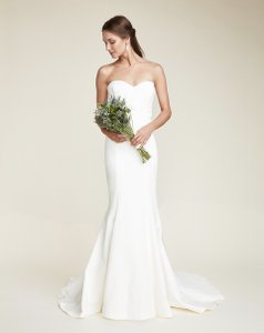 Nicole Miller White Ivory Cotton/Silk Dakota Bridal Gown Eo0009 Modern Wedding Dress Size 6 (S)
