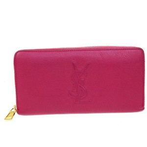 Saint Laurent YVES SAINT LAURENT YSL Logos Long Bifold Wallet Purse Leather Pink