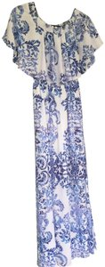 Blue and White Maxi Dress by Show Me Your Mumu Maxi Floral Open Shoulder Ruffle