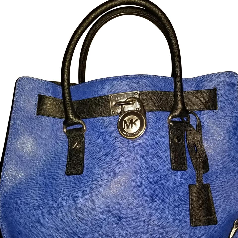 c672810d8d23 MICHAEL Michael Kors Hamilton Saffiano Tote Cobalt Blue and Black Leather  Satchel