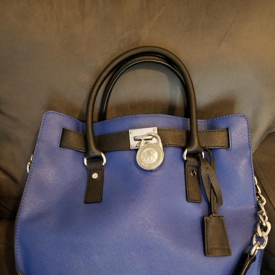 be3190fe52a1 MICHAEL Michael Kors Satchel in Cobalt Blue and Black Image 10.  1234567891011