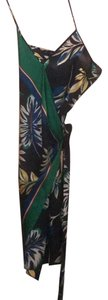 Zara short dress navy blue with tropical details of green, yellow, and white on Tradesy