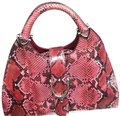 Gucci Snakeskin Python Hobo Satchel in red