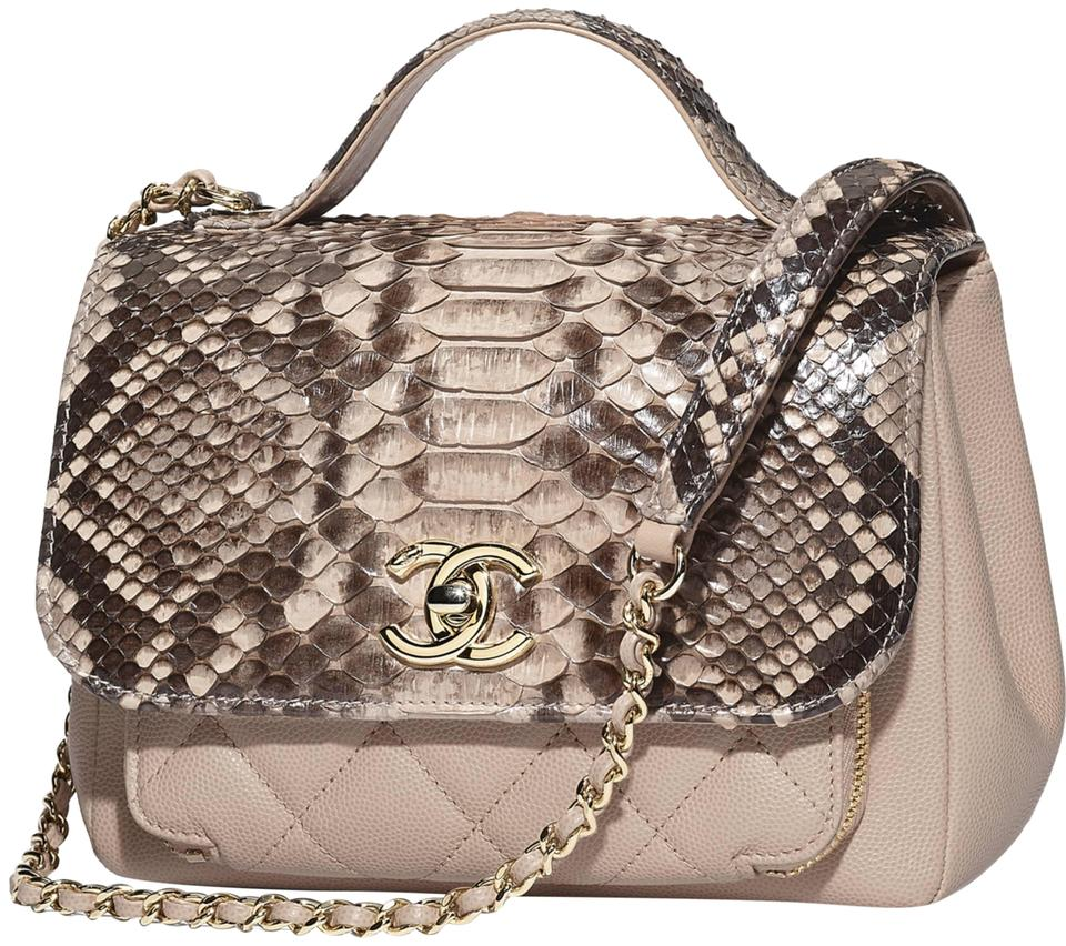 01de6c7961e3 Chanel with Flap Top Handle Beige Python Grained Calfskin   Gold ...