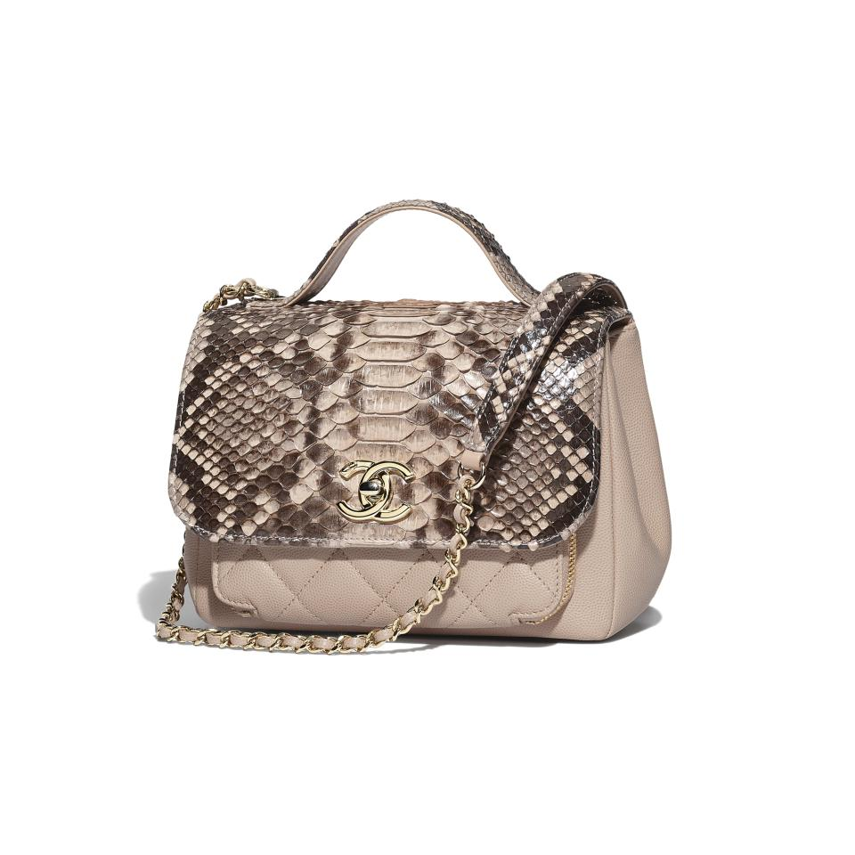 024ee64d04ed33 Chanel with Flap Top Handle Beige Python Grained Calfskin & Gold ...