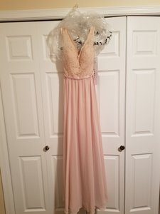 Mori Lee Blush Over Nude Lace/Chiffon Style 714 In (Regular 6) Vintage Bridesmaid/Mob Dress Size 6 (S)