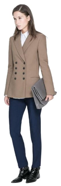 Item - Tan Wool Blend Double Breasted Jacket Coat S Small Blazer Size 6 (S)
