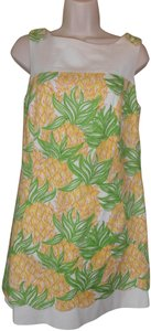Lilly Pulitzer short dress green/yellow Shift Brocade Floral Print on Tradesy