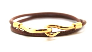 Hermès Jumbo Gold double tour hook leather Cuff Bracelet Bangle
