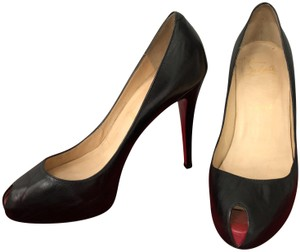 3cf747f2dc35 Christian Louboutin Black Very Prive Leather Peep Toe Pumps Size US ...