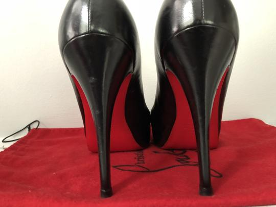 82d159b575a Christian Louboutin Black Very Prive Leather Peep Toe Pumps Size US ...