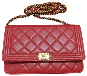 Chanel Chanel Boy Wallet On Chain Red Quilted Lambskin