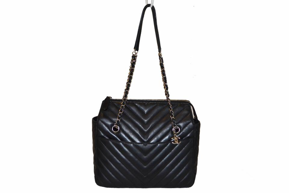 6bc21820676b Chanel Chevron Quilted Lambskin Surpique Small Black Leather Tote ...