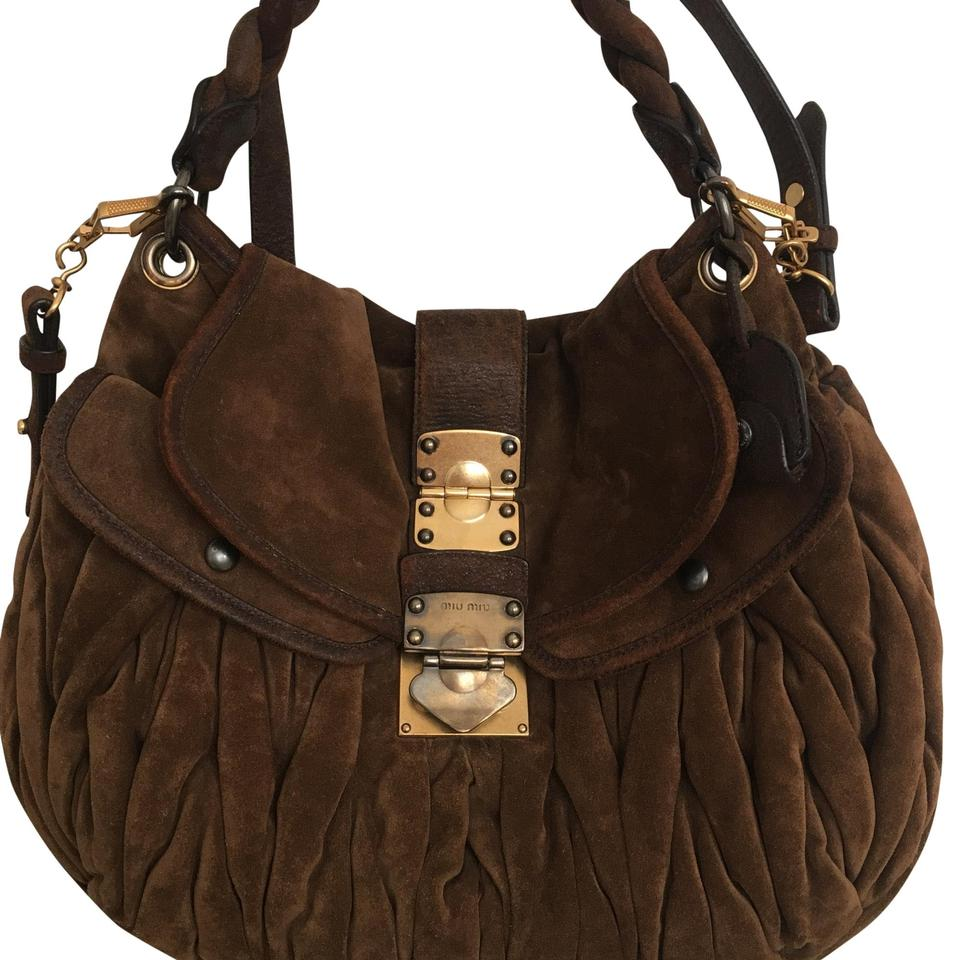 e7bd213b8d7e Miu Miu Matelasse Coffer Brown Suede Leather Hobo Bag - Tradesy