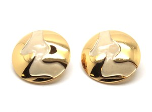 Chanel Rare Extra Large Round gold Wave disc clip on earrings