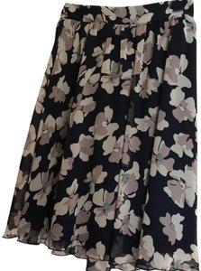 Final Touch Floral Lined Flowy Skirt Navy