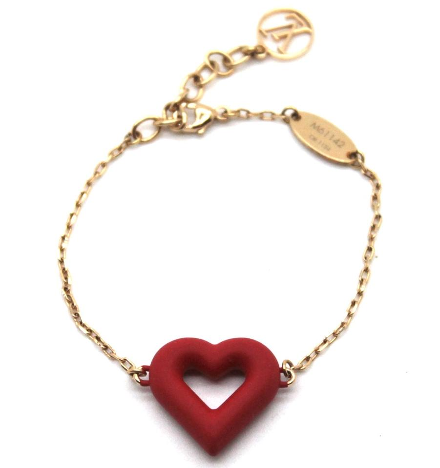 477f09ff28 Louis Vuitton #19312 Gold Red Ultra Rare Lv Logo Heart Valentines Chain  Bracelet 64% off retail