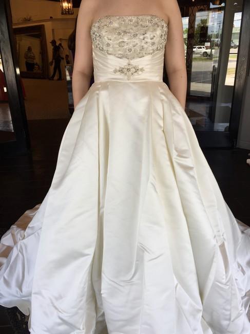 Item - Off White Satin Bamba Traditional Wedding Dress Size 12 (L)