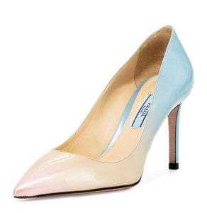 Prada Made In Italy Luxury Designer Patent Leather Tricolor Pointed Toe Pastel / Light Blue Pumps