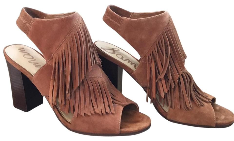 48d56a31cf0 Sam Edelman Saddle Kid Suede Leather Elaine Fringe Sandals Size US 8 ...