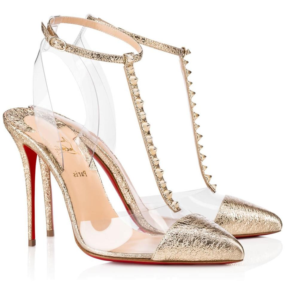 0516f903241b Christian Louboutin Stiletto Classic Patent Nosy Ankle Strap gold Pumps  Image 0 ...