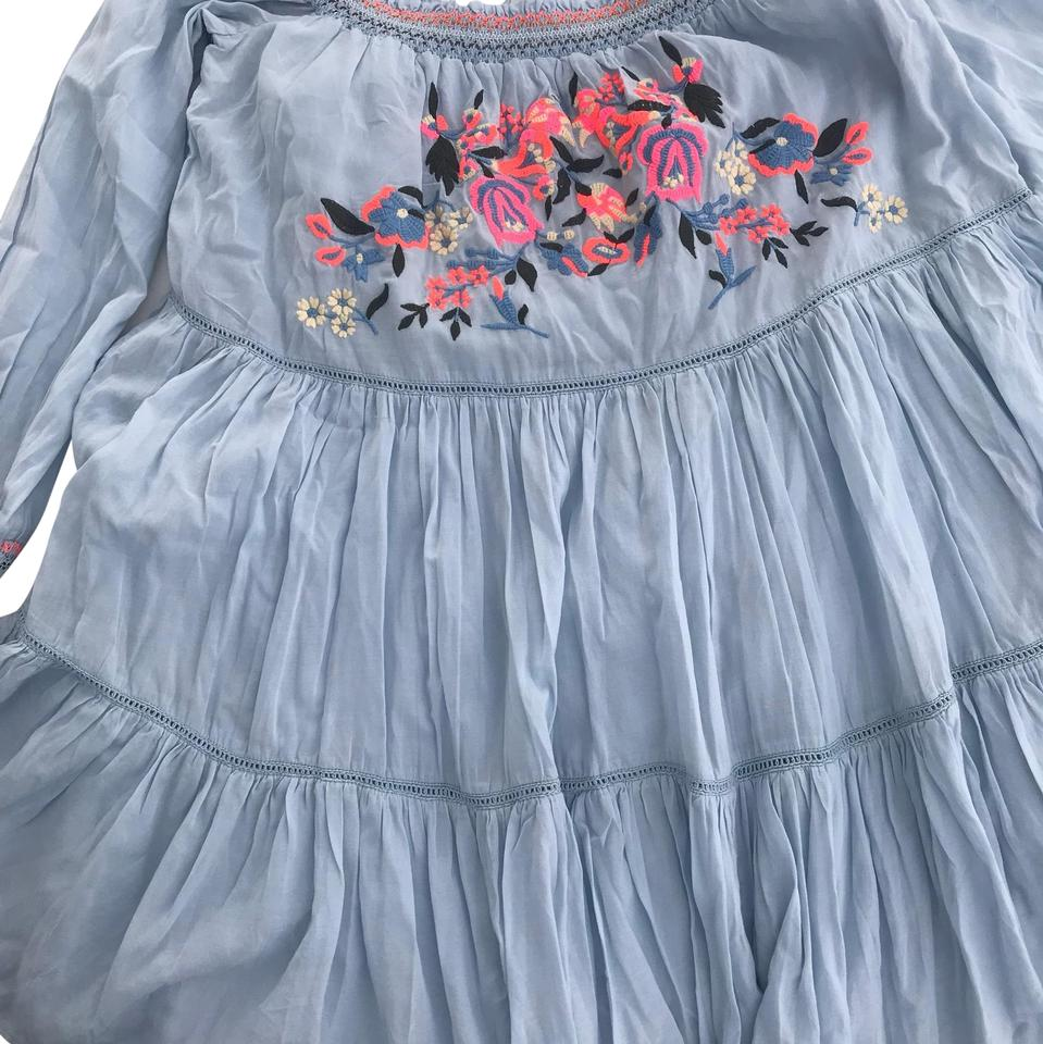 29f10aec21254 Free People Blue Sunbeams Embroidered Mini Short Casual Dress Size 4 ...