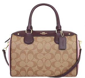 Coach Satchel in khaki Oxblood multi