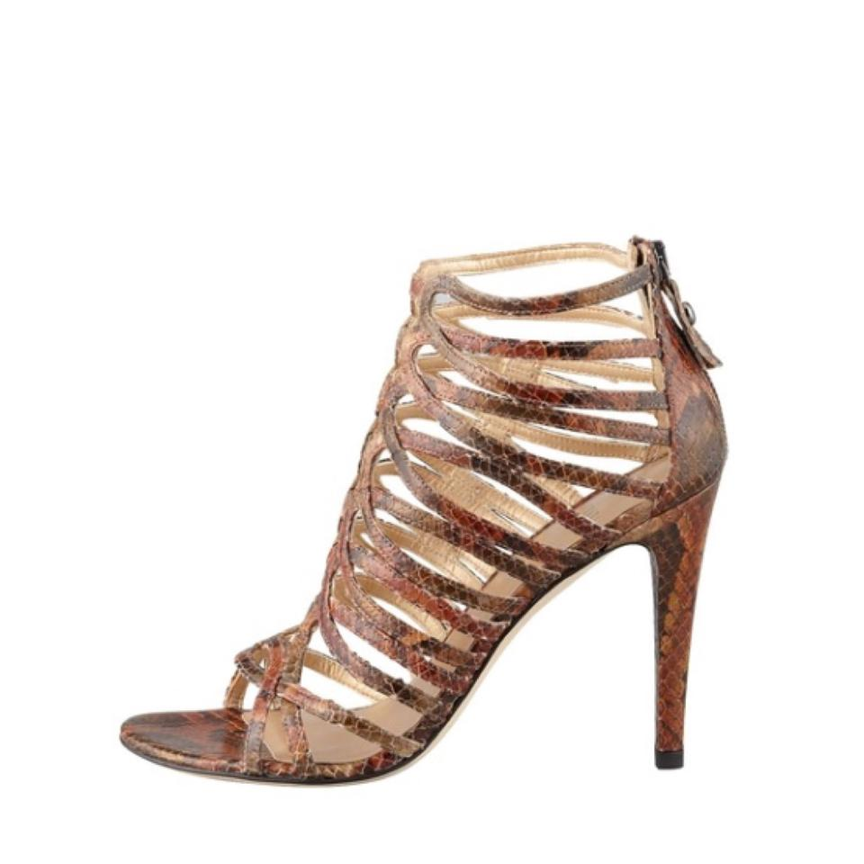 b00a02d42e1e Stuart Weitzman Brown Snakeskin Loops Strappy Python Leather Heels Sandals