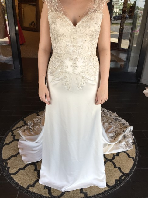 Maggie Sottero Ivory/Pewter Silky Satin Estelle Vintage Wedding Dress Size 12 (L) Maggie Sottero Ivory/Pewter Silky Satin Estelle Vintage Wedding Dress Size 12 (L) Image 1