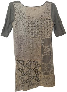 4 Love and Liberty Knit Lace Embroidered Dress Johnny T Shirt Grey, Off-White