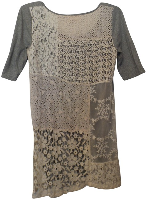 Preload https://img-static.tradesy.com/item/23461366/4-love-and-liberty-grey-off-white-johnny-was-embroidered-lace-knit-dress-tunic-tee-shirt-size-6-s-0-1-650-650.jpg