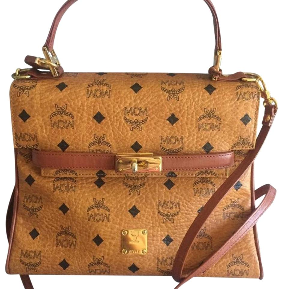 39634d13c1ca MCM Kelly Style In Classic Monogram Brown Leather Satchel - Tradesy