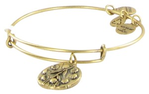 Alex and Ani Willow Charm Bracelet Expandable Bangle Gold Rulers of Woods Card